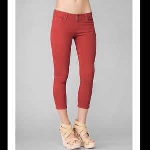 PAIGE Roxie Capri Jeans In Red Orange Pomodoro